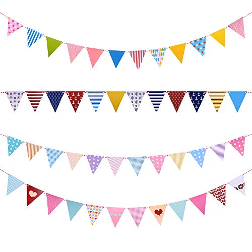 LOLOAJOY Flag Banner Multicolor Triangle Flag Pennant Banner For Party Decorations For Party Decorations Grand Opening Festival,Pack of 4]()
