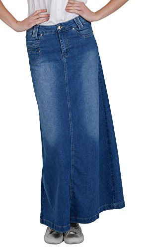 Gonna di jeans donn lunga - Stonewash Blu denim fashion (SKIRT35)