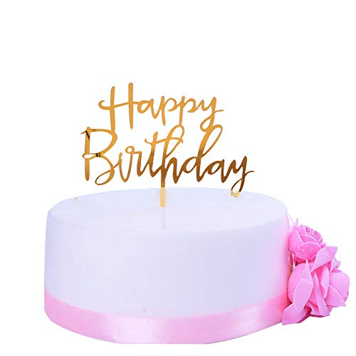 Cake Birthday Fruit - SHAMI Happy Birthday Cake Topper Rose gold Premium quality Acrylic Calligraphy Bling cake Toppers Birthday sign Party Decoration Durable Thick Eco Friendly