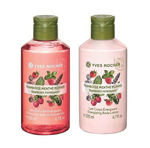 Yves Rocher Energizing Bath & Shower Gel Raspberry Peppermint, 200 ml./6.7 fl.oz. + Energizing Body Lotion Raspberry Peppermint, 200 ml./6.7 fl.oz. (Set)
