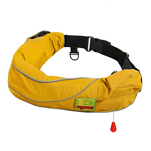 (Premium Quality Automatic / Manual Inflatable Belt Pack PFD Waist Inflate Life Jacket Lifejacket Vest SUP Survival Aid Lifesaving PFD with Zippered Storage Pocket for Adult Yellow Color)