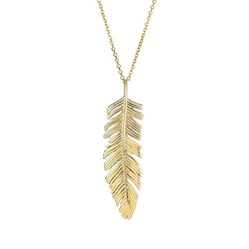 Feather Pendant 14kt Gold Jewelry - 14k Yellow Gold 35x8mm Feather Pendant 14kt Yellow Gold 0.8mm Cable Chain Necklace - 18 Inch