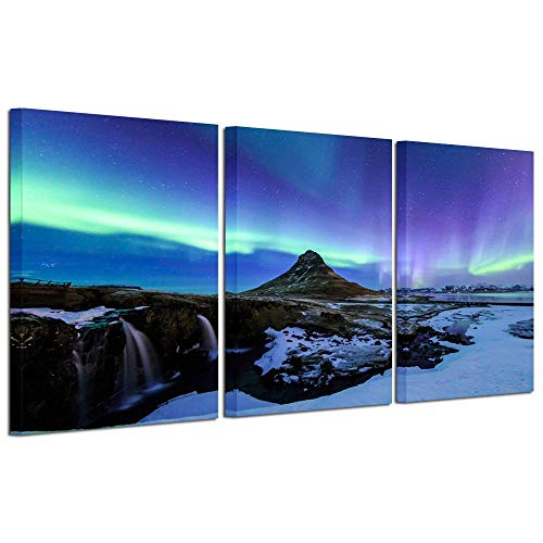 (Kreative Arts 3 Piece Wall Art Painting Northern Lights Over Mountain Landscape Wall Pictures Aurora Print Gallery Canvas Wrapped for Home Bedroom Decor 16x24inchx3pcs )