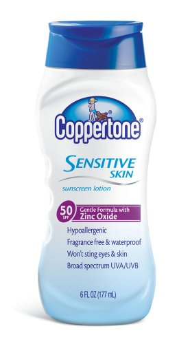 Cheap Coppertone Sensitive Skin Body Lotion SPF 50, 6-Ounce Bottles (Pack of 3)