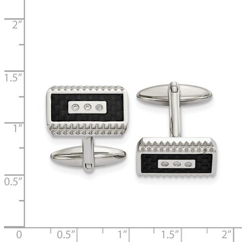 Black Carbon Fiber Inlay CZ Rectangle Cuff Links Stainless Steel 21.73MMX19.12MM