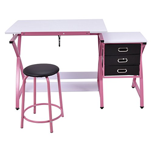 Drafting Desk Art & Craft Drawing Table Hobby Folding Adjustable with Stool by Eramaix