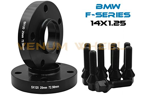 2 Pc BMW F-Series 5x120 MM Black Hub Centric Wheel Spacers 72.56 Hub Bore W/ 14x1.25 Black Lug Bolts Fits: F30 F31 320 328 335 F80 M3 F32 F82 M4 435 F22 F23 228 235 F10 528 535 M5 F11