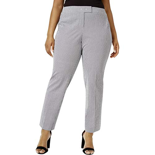 Anne Klein Women's Size Plus Seersucker Slim Pant, Black/Optic White 24W ()
