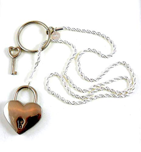 Locking Day Collar Necklace Sterling Silver Pure Plated Chain Day Collar Heart Padlock and Key For Women Girl Gift