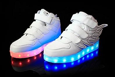 dise/ño Zapatillas Deportivas LED ni/ño//ni/ña Llamas y alas Luces LED de Movimiento de Flash Variable de 7 Colores se Pueden Cargar a trav/és de un Cable USB