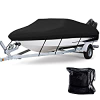 Waterproof Boat Cover, Heavy Duty 600D Polyester Oxford Professional Bass Runabout Boat Cover, Durable & Tear Proof, All Weather Outdoor Protection - Fits for 17-19ft V-Hull