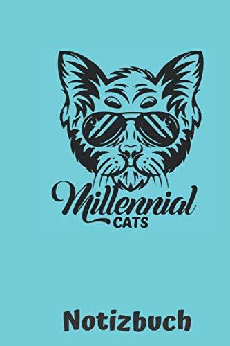 Notizbuch Millenial Cat: Din A5 kariertes Heft fuer alle Katzen Liebhaber | Motiv: Katze mit Sonnenbrille auf blau (German Edition) (Cool Cat Sonnenbrille)