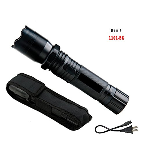 11. 1101-BK Metal Police Stun Gun 18 Million Volt Rechargeable LED Flashlight with Case