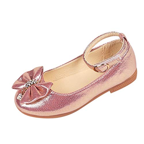 Girl's Sandals Toddler Kids Girls Ballet Mary Jane Flat Shoes Bowknot Crystal Dance Shallow Single Shoes Pink