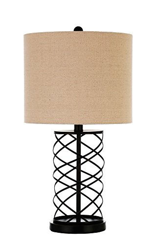 Coaster Home Furnishings 920023 Transitional Table Lamp with Twisted Bronze Base, Creamy White - A fluid, twisted metal pattern and drum shade give this beautiful accent lamp a relaxing shape The bronze finish on the metal with the linen-like drum shade contrast each other nicely The lamp features a two-way switch and supports 9-watt bulbs - lamps, bedroom-decor, bedroom - 41ilTo6fKyL -
