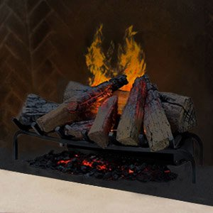 Dimplex DLGM29 Opti-Myst Open Hearth Fireplace Insert with Faux Logs Bed, Alabaster (Electric Fire Log)