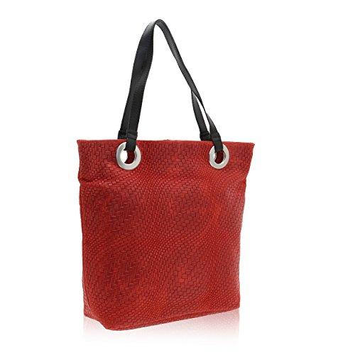 Hombro Rojo 10 Italy Bolsa Mujer Borse Cm De In Cuero 40 Made 34 Chicca Genuino En X awFx6vFq