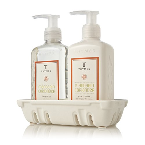 Thymes - Mandarin Coriander Sink Set with Ceramic Caddy, Hand Wash, and Lotion - 8.25 Ounces Each - Lotion Caddy Set