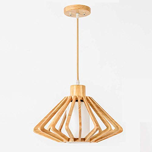 Hanging Lamp,Pendent Light,Simple Japanese Style Wooden Chandelier Solid Wood Diamond Hanging Lamp Personality Creative Pendant Light Fabric Dining Room Drawing Room Lead Ceiling Light -45Cm, Chuan ()