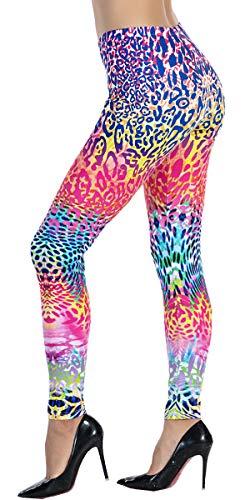 (Ndoobiy Women's Printed Leggings Full-Length Plus Size Workout Legging Pants Soft Capri L1(Color Spot PS))
