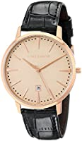 Vince Camuto Men's VC/1073LRRG The Associate Rose Gold-Tone Black Croco-Grain Leather Strap Watch