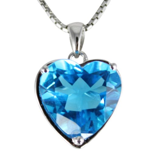 Ocean's Heart-Shaped 4ct Blue Cubic Zirconia Rhodium Plated Sterling Silver Pendant (No Chain) (Plated Pendant Shaped Rhodium Heart)