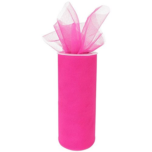 Just Artifacts Tulle Fabric Roll 25yrd Length x 6in Width (Color: Hot Pink) -