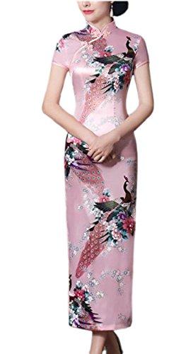 Cinese 7 Jaycargogo Corta Qipao Manica Donne Vestito Cheongsam Lunga wnr6qr08xR
