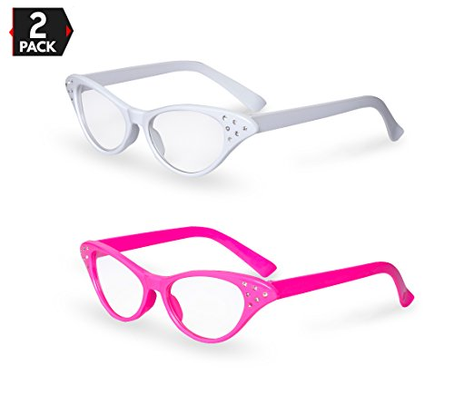 (Pink / White Cat Eye Retro Costume Dress Up Hip Hop Rhinestone Glasses (2)