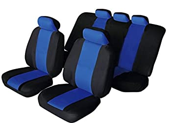 Universal SPORTY Fabric Car Seat Covers BLACK Amp
