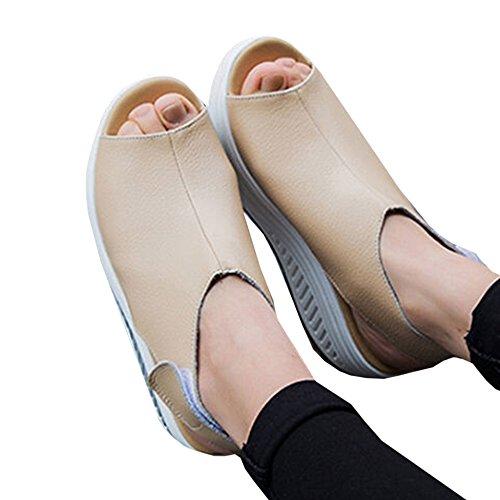 Chuanqi Kvinnor Mode Skor Sommar Öppna Tår Sandaler Läder Platta Skor Skor Beige