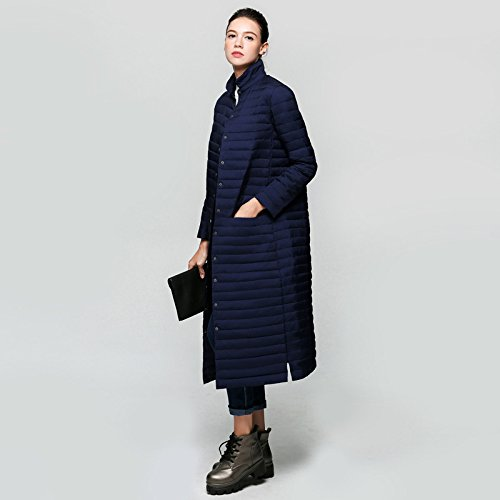 FYM DYF Color Thicken Solid Sleeve Down Navy Long Button L Blue COAT Pocket Collar Jacket Coat rHw5rYq
