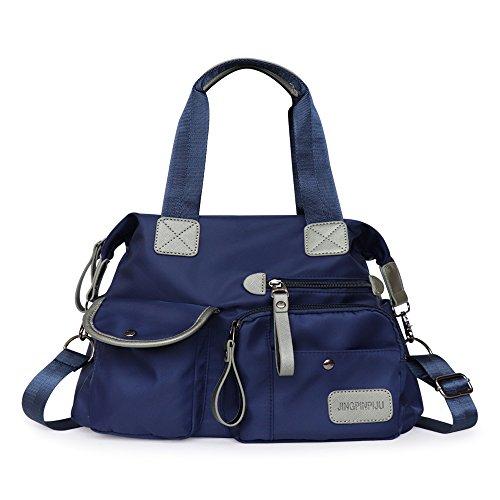 Functer MT2 34 cm Nylon Shoulder Travel Bag Large Capacity Multi Zip Pocket Style for Women,Purple by functer