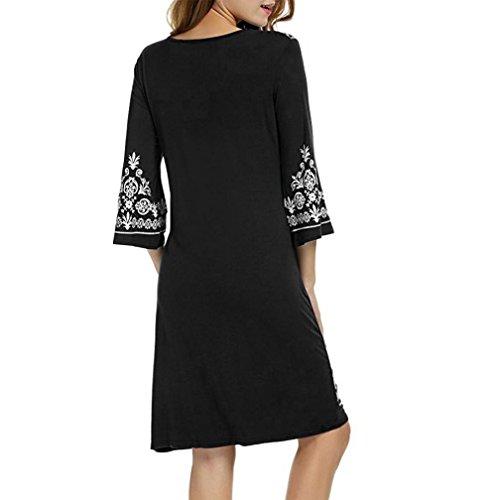 Bretelles sans Imprimer Mini Robe B Printemps Noir t Boho Robe Dcontract Femmes Manches LuckyGirls gnBH0x8qwg