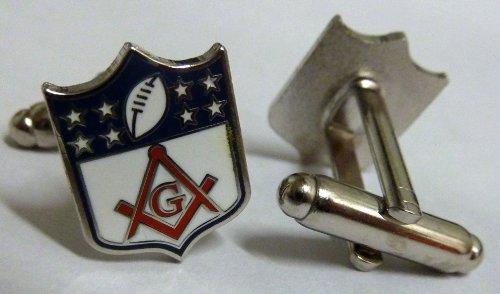 Nfl Shield Cufflinks - Masonic NFL Football Shield Logo Square & Compass Cufflink Cuff Links Set