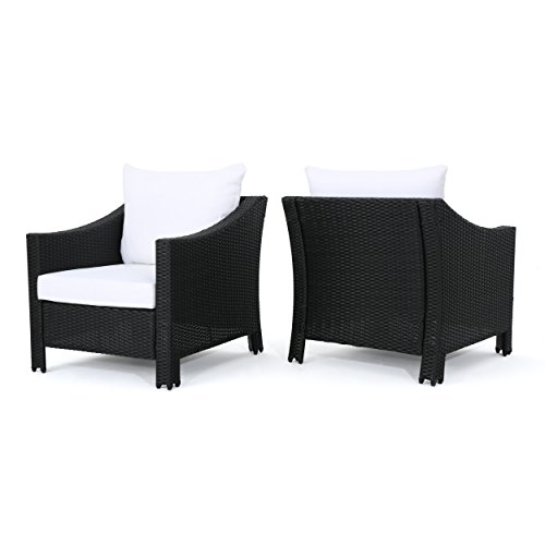 Stonewell Outdoor Black Wicker Club Chairs with White Water Resistant Cushions (Set of 2) (Wicker White Set Furniture)