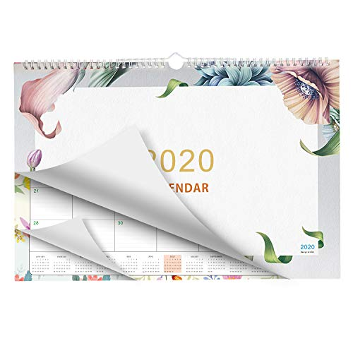 Plantime Desk Calendar, Yearly Wall Pad Calendar Daily Planners Ruled Blocks 17x12 To Do List Notepad (Floral)