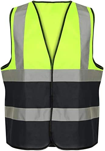 Hi Vis Vest High Viz Visibility 2 Band Brace Reflective Flashing Strips Security Work Wear Contractor Safety Vests Waistcoat Top Size S-6XL Yellow Navy, 5XL
