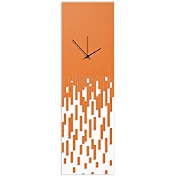 Metal Art Studio Surreal Wall Clock 'Orange Pixelated Clock-Black Hands' by Adam Schwoeppe - Techy Style Decor Abstract Accent Piece on Acrylic