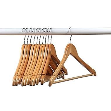 Home-it (24 Pack) Natural wood Solid Wood Clothes Hangers, Coat Hanger Wooden Hangers