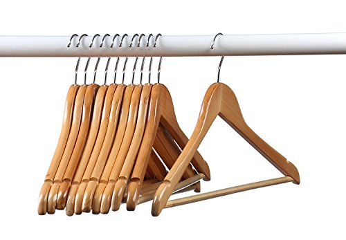 Natural 24 Wood - Home-it (24 Pack) Natural wood Solid Wood Clothes Hangers, Coat Hanger Wooden Hangers