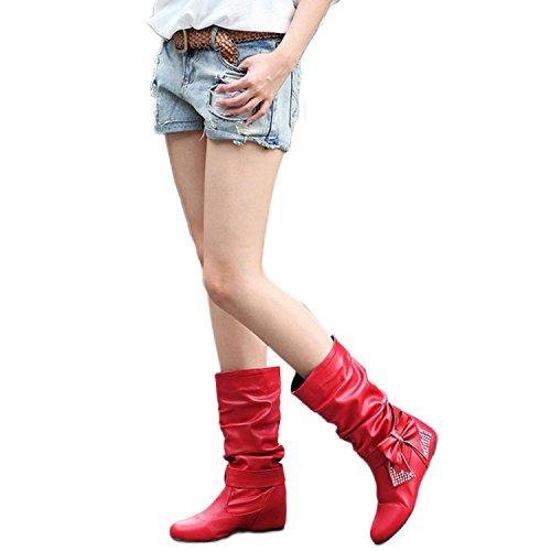 Kadcope Schuhe Mid Schwarz große Womens Rot Bow Kalb Stiefel Keilabsatz Stiefeletten 87Er8Owqx