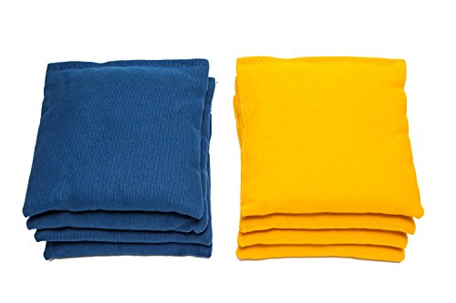 Weather Resistant Cornhole Bags (Set of 8) by SC Cornhole (Royal Blue/Yellow)