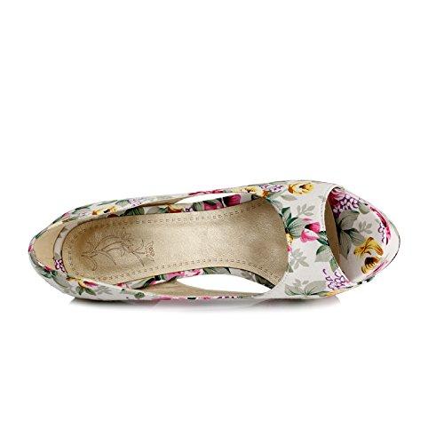Womens Beige High Shoes Heel Stilettos toe Peep Pump AIWEIYi Print Dress FRdxnvwq