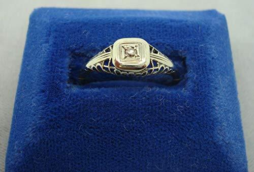 Elegant 14k Gold Filigree Ring with .05ct Genuine Natural Diamond (#960)