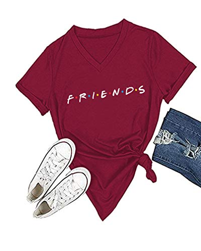 Friends Red T-shirt - Womens Cute Graphic Crewneck T Shirt Junior Tops Teen Girls Graphic Tees (Wine Red Vneck, M)