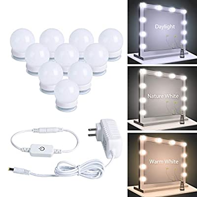 Minetom 3 Color Modes Hollywood Style LED Vanity Mirror Lights Kit with Smart Dimmer, 10 LED Bulbs with for Makeup Vanity Table in Dressing Room, Power Supply Plug in Lightings, Mirror Not Included