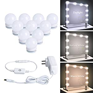 Minetom Vanity Lights, 10 Pcs Led Vanity Makeup Light for Mirror Stick on Lights with Dimmable & 3 Color Modes Light Bulbs in Bedroom Bathroom Dressing Room (Mirror Not Included)