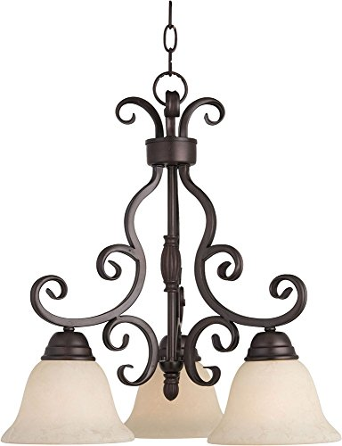 Maxim 12203FIOI Manor 3-Light Chandelier Down Light Chandelier, Oil Rubbed Bronze Finish, Frosted Ivory Glass, MB Incandescent Incandescent Bulb , 60W Max., Dry Safety Rating, Standard Dimmable, Metal Shade Material, (Manor Oil Rubbed Bronze Chandelier)