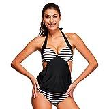 Fheaven Women Striped Splicing Spaghetti Strap Sexy Bikini Side Holow Out Swimwear Swimsuit (S, Black)